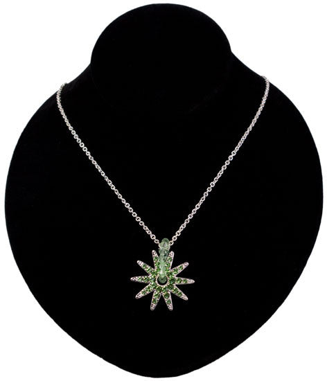 Crystal Spur Rowel Necklace in Green by Wyo Horse