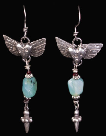 Heart and Wings Earrings by Sweet Bird Studios