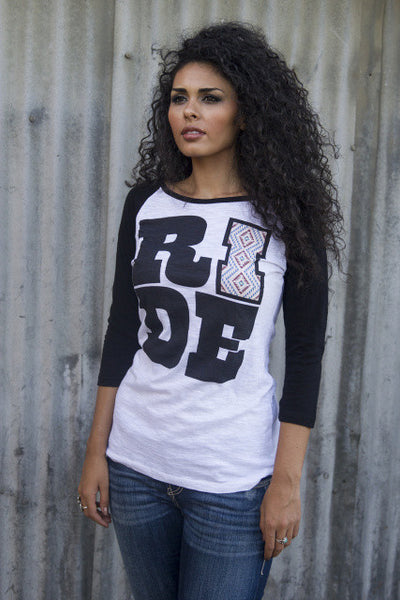 Ride Baseball Tee Shirt by Original Cowgirl Clothing Co.
