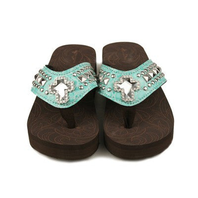 Western Bling Flip Flops in Turquoise by Montana West