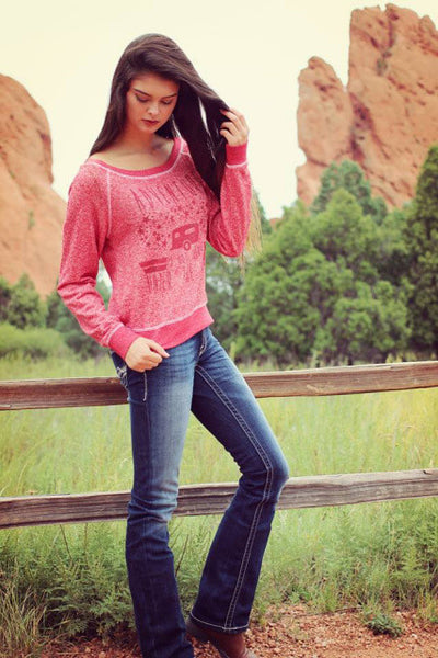 Adventure is Out There French Terry Pullover in Red by Original Cowgirl Clothing Co.
