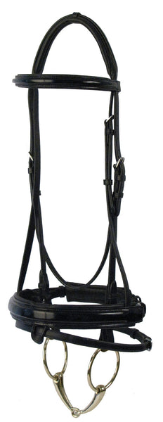Patent Leather Dressage Bridle with Rubber Lined Reins by Smith-Worthington