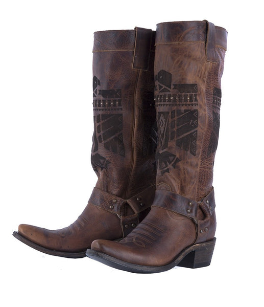 She Who is Brave Cowboy Boot in Dark Brown by Junk Gypsy Co.