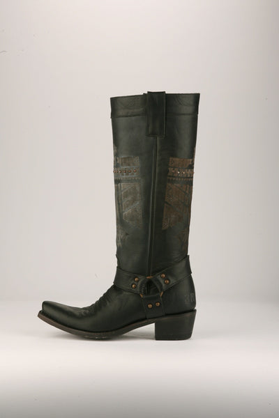 She Who is Brave Cowboy Boot in Black by Junk Gypsy Co.