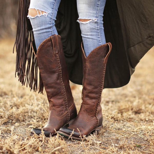 Plain Jane Cowboy Boot in Cognac by Lane Boots