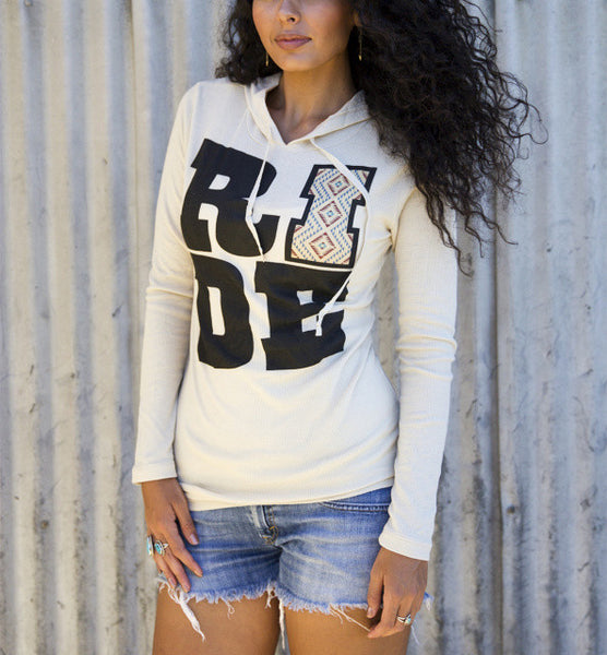 Ride Thermal Hoodie Tee Shirt by Original Cowgirl Clothing Co.