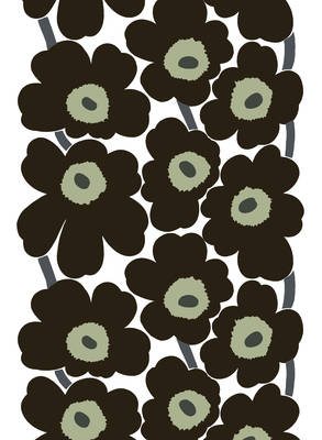 Marimekko Fabric - Coated Cotton - Unikko 030 Black/White/Taupe