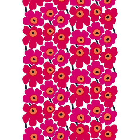 Marimekko Fabric - Coated Cotton - Pieni Unikko 2 001 Red/Pink
