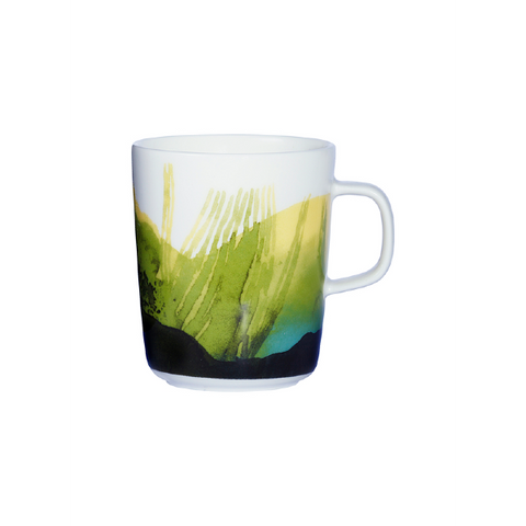 Marimekko Kitchen - Mug - Saapaivakirja 166 White/Dark Green/Green