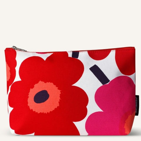 Marimekko Cosmetic Bag - Relle - Unikko 001 Red/White/Pink