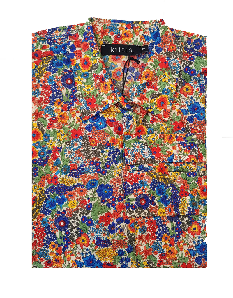 Liberty Lawn Cotton Shirt - Red/Royal Blue/Green