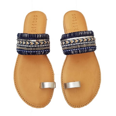 Kiitos Leather Sandals - Eli - Blue/Silver