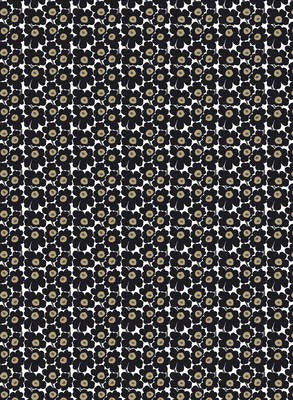 Marimekko Fabric - Cotton - Mini Unikko 030 Black/White /Taupe