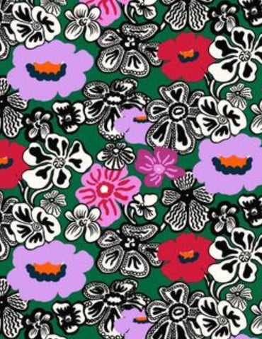 Marimekko Fabric - Coated Cotton - Kaukokaipuu Green, Pink, Red, Black