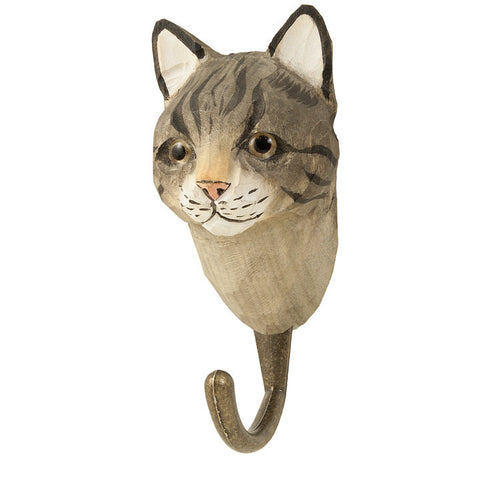 Wildlife Garden - Hand Carved Hook - Cat