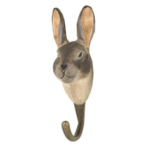 Wildlife Garden - Hand Carved Hook - Mountain Hare