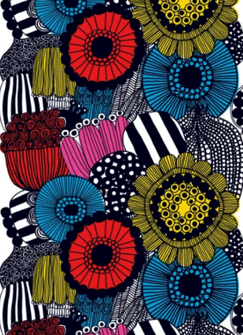 Marimekko Fabric - Cotton - Siirtolapuutarha 120 White/Yellow/Red/Black