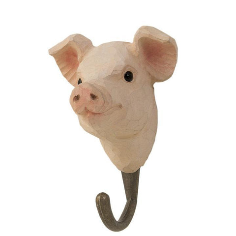 Wildlife Garden - Hand Carved Hook - Pig