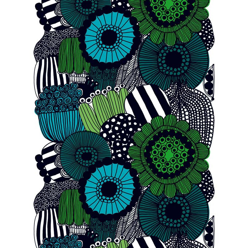 Marimekko Fabric - Coated Cotton - Siirtolapuutarha 160 Green