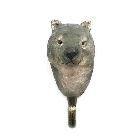 Wildlife Garden - Hand Carved Hook - Wombat