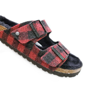 Birkenstock Arizona Shearling Plaid Red sandal