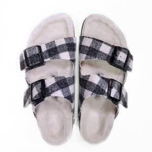 Birkenstock Arizona Shearling Plaid White