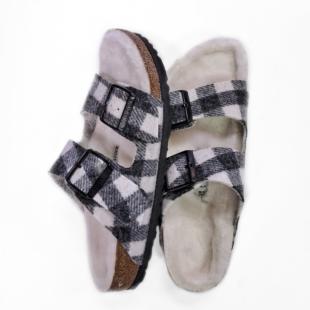 Birkenstock Arizona Shearling Plaid White sandal