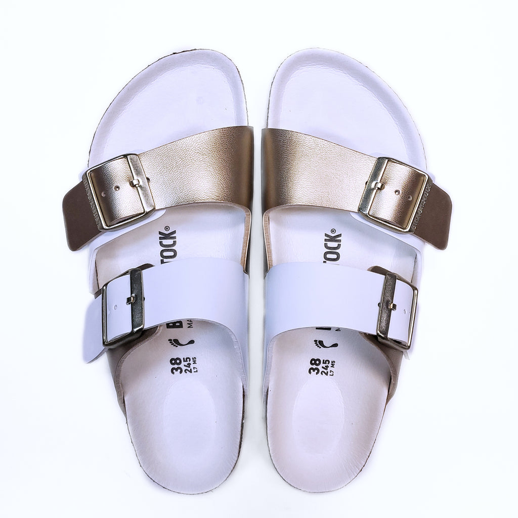 Birkenstock Arizona Split Gold White BirkoFlor Sandal