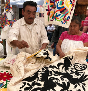 Tenango: Colourful textiles, hand embroidered by the Otomi from Mexico.