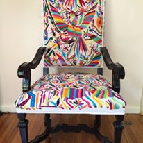 Antique Chair, upholstered with multicolour Otomi