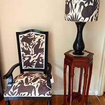 Custom made Chair and lamp, upholstered with dark grey Otomi fabric