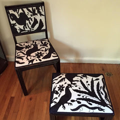 Vintage chair and stool, upholstered with black and white Otomi