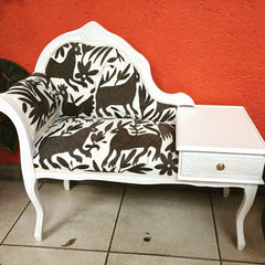 Telephone bench, upholstered with grey Otomi