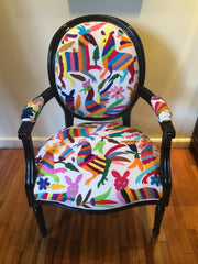 Queen Ann chair, upholstered with multicoloured Otomi fabric