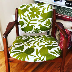 Vintage Chair, upholstered with Olive green Otomi