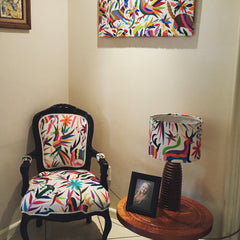 Custom made Chair and lamp, upholstered with multicoloured Otomi fabric