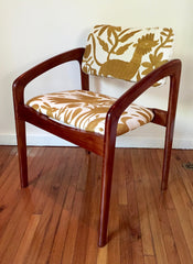 Vintage chair, upholstered with gold Otomi fabric