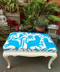 Queen Ann stool, upholstered with turquoise Otomi