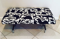 Vintage bench, upholstered with Black and white Otomi fabric