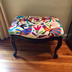Queen Ann stool, upholstered with multicolour Otomi