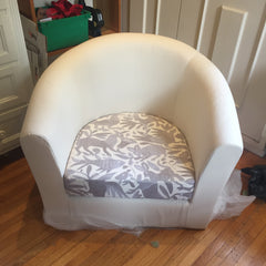 IKEA stool with silver Otomi pillow