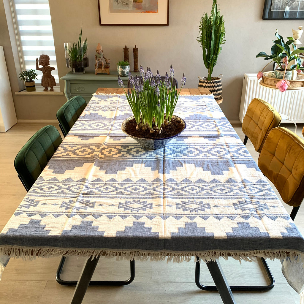 Handwoven tablecloth/blanket DENIM