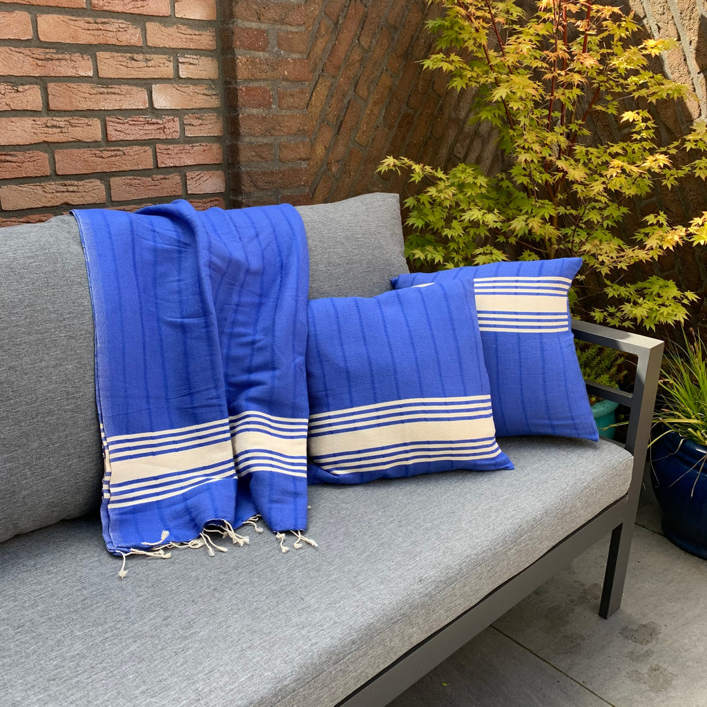 3 piece set Handwoven pillow covers and plaid MARINE
