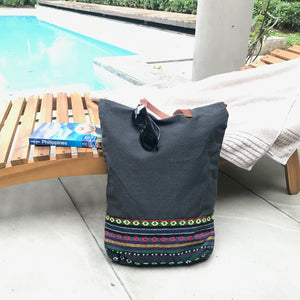 Grey Inabel tote bag, handwoven from Philippines