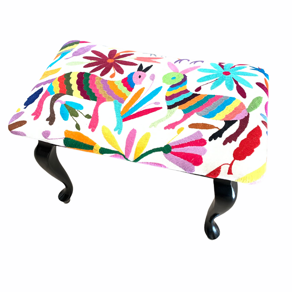 Queen Ann style stool. Upholstered with Otomi fabric