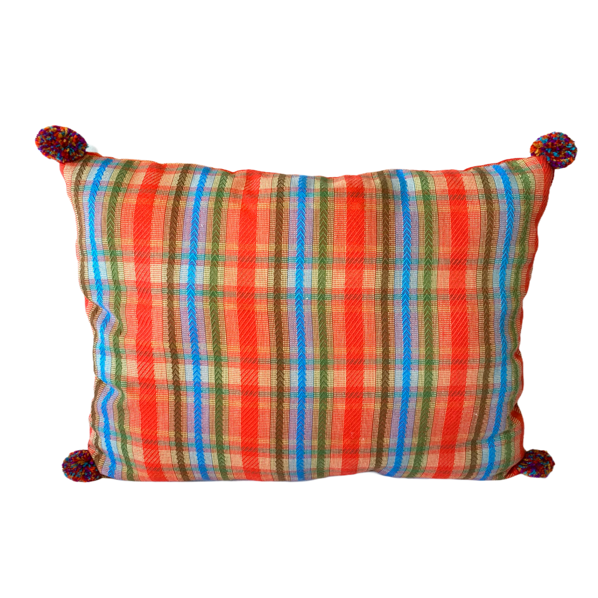 Inabel throw pillow with pompoms