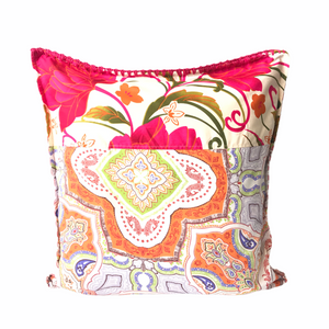 Inabel pillow cover with colourful backing from Philippines