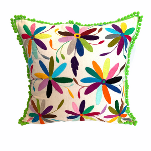 Hand embroidered Otomi pillow cover with green pompoms