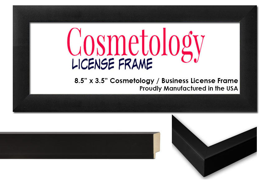 Simple Black Wood Cosmetology License Frame - 8.5