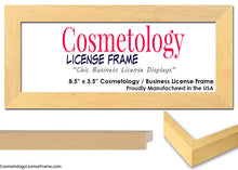 "Simple Black Wood Cosmetology License Frame - 8.5"" x 3.5"" Inches"